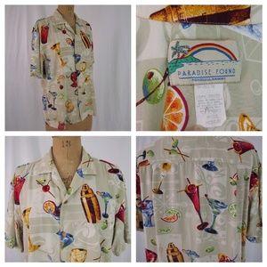 vtg PARADISE FOUND Happy Hour Aloha Hawaiian Shirt